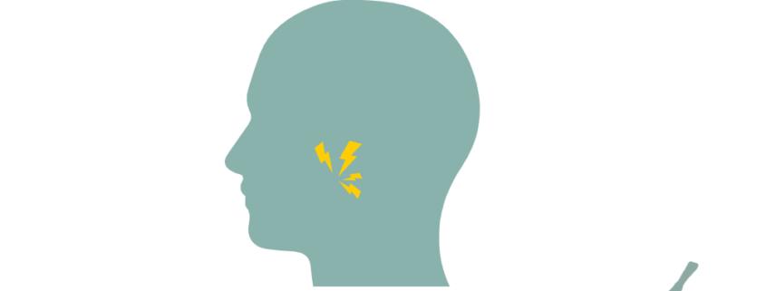 """Sjematisk framstiling av et hode, lynende smerter rundt kjeveleddet. Lokalisert like foran øret. Logo til akupunkturhuset. Overskrift """"Kjeveplager"""" og """"Akupunkturhuset""""."""