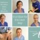 Bilde av våre behandlere, Katharina, Hehe, Dorothee, Marit og Elisabeth. Tekst: Vi er klare for å ta i mot deg. Akupunkturhuset.