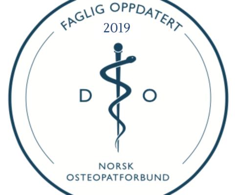 Stempel fra Norsk osteopat forbund om faglig oppdatert 2019